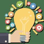 ACCES21 Fonds de dotation pour chef d'entreprise Icône illustration main d'homme tenant une ampoule allumée entourée d'icônes diverses