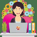 ACCES21 Fonds de dotation pour chef d'entreprise Icône illustration d'une femme devant un ordinateur