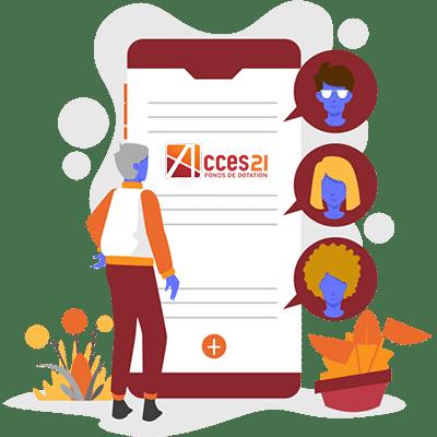 ACCES21 Fonds de dotation pour chef d'entreprise. Illustration d'un téléphone mobile avec des icônes