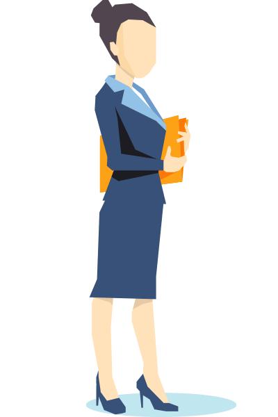 ACCES21 Fonds de dotation pour chef d'entreprise. Illustration représentant une femme d'affaire avec un dossier dans les bras