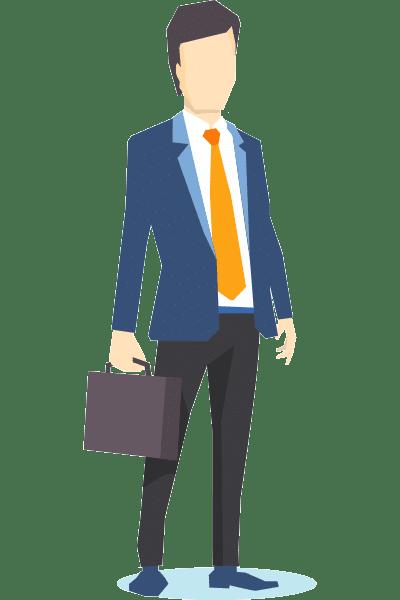 ACCES21 Fonds de dotation pour chef d'entreprise. Illustration représentant un homme d'affaire